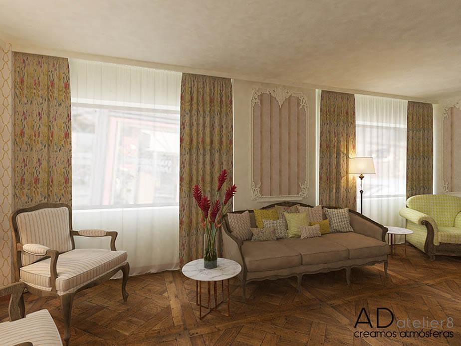 diseño de interiores para un hotel